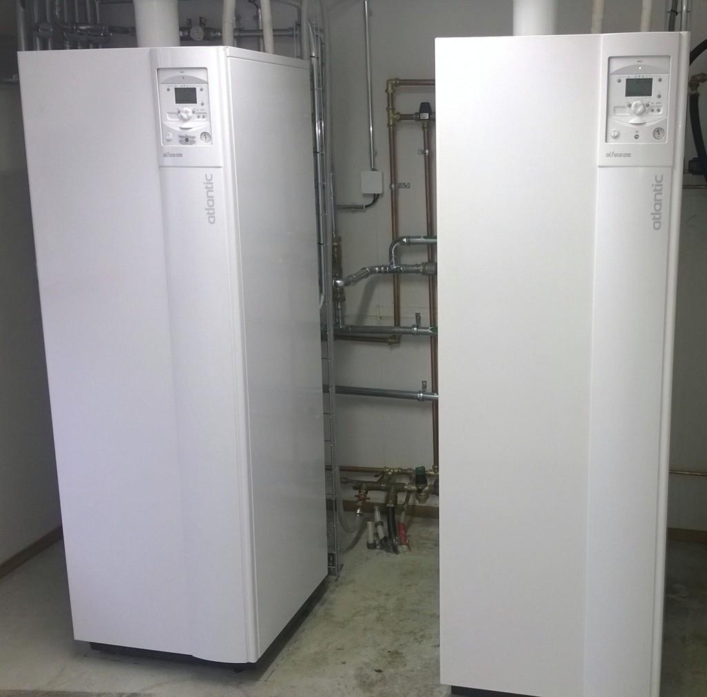 Hallin lämmitys ilmavesilämpöpumpulla Hybrid Gas